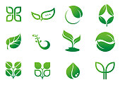 leaf icon logo set