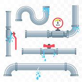 Leaking pipes. Broken pipeline. Vector illustration
