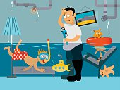 Kid snorkeling in a flooded room, his father looking at the leaking plumbing, EPS 8 vector illustration