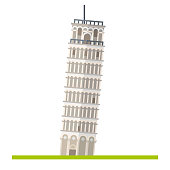 Flat design isolated icon of Leaning Tower of Pisa, Italy