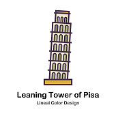 Leaning Tower of Pisa Lineal Color Vector Illustration