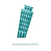 Leaning tower of Pisa. The famous Italian leaning tower. Italy landmark. Travel flat illustration. Italy famous building. Icon of Leaning tower of Pisa