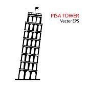 Leaning Tower of Pisa, Italy, vector icon.