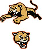 Stylized, leaping cougar or mountain lion.