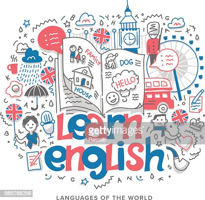 Learn English Concept Illustration : Vector Art