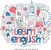 Doodle vector concept illustration of learning English language, getting education in England