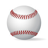 Leather baseball game ball with shadow and red seam. Vector