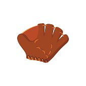 Leather baseball glove cartoon icon. Single symbol isolated on a white background
