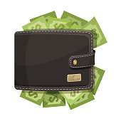 Leather dark brown wallet stitched with grey thread icon full of money sketch emblem. Closeup of pocket with green dollar banknotes, vector illustration