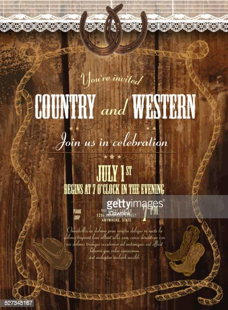 Leather, wood and lace country and western horsheshoe design template