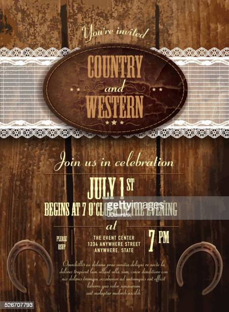 Leather, wood and lace country and western invitation vertical composition