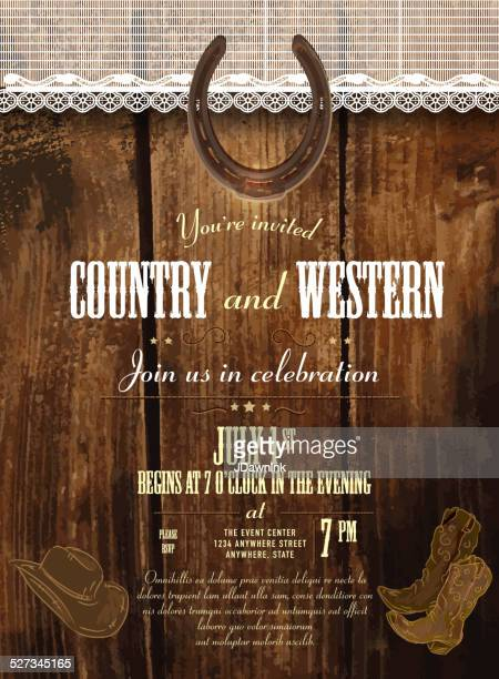 Leather, wood and lace upper country and western invitation template