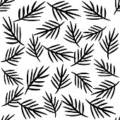 Leaves seamless pattern vector black white