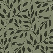 Leaves Seamless Pattern of botany plant texture on green background