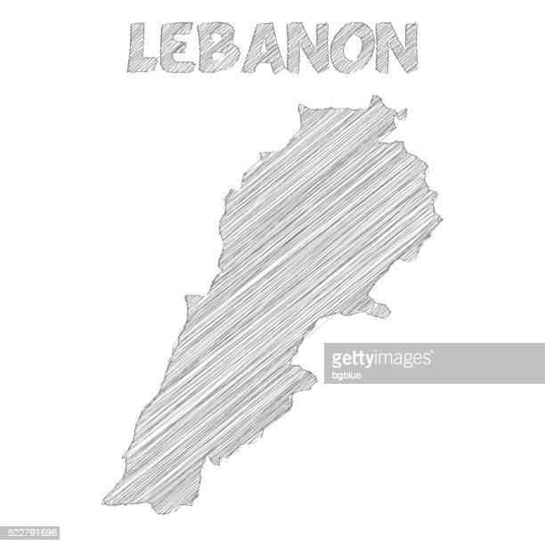Lebanon map hand drawn on white background