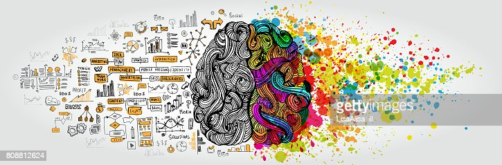 Left right human brain concept. Creative part and logic part with social and business doodle : Vector Art