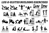 Artworks depict set of weight training reps workout for legs and glutes by gym machine tools with instructions and steps.