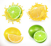 Lemon and lime juice. Fresh fruit, 3d vector icon