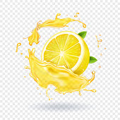 Lemon fruit juice splash realistic vector illustration