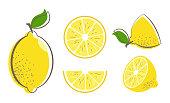 Fresh lemon fruits with leaf. Lemon vector illustration set. Whole, cut in half, sliced on pieces lemons. Citrus collection. Lemon symbol or icon.