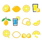 Vector food icons set - lemon or lime isolated on white