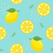Lemon, seamless, pattern, blue, design,summer,fruit,tropical