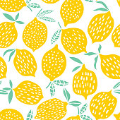Lemon seamless pattern vector illustration. Summer fruit design
