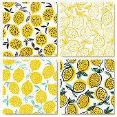 Lemon seamless pattern vector illustration. Summer fruit design