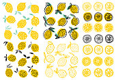 Lemon illustration vector set isolated on white