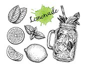Lemonad set. Isolated on white background. Hand drawn vector illustration. Retro style ink sketch.
