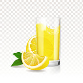 Lemonade transparent glass with pieces of lemon. Vector realistic.