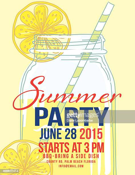 Lemonade Summer Beach Party Invitation Template