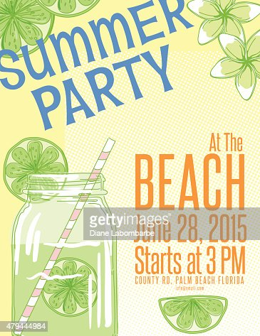 Lemonade summer beach party invitation template vector art getty similar images stopboris Image collections