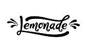 Lemonade word lettering. Black text on white background. Summer fresh drink. Modern brush calligraphy. Vector illustration. Handwritten phrase.