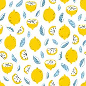 Fresh lemons and leaves modern seamless pattern