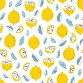Fresh lemons and leaves modern seamless pattern
