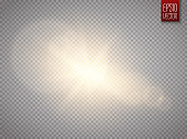 Lens flare effect isolated on transparent background. Golden glow flashlight illustration. Vector lights.
