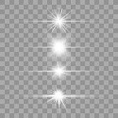 Lens flares set. Vector glowing sparks.