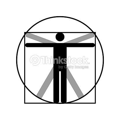 Leonardo Da Vinci Vitruvio Hombre Vector Icono Símbolo Diseño ...