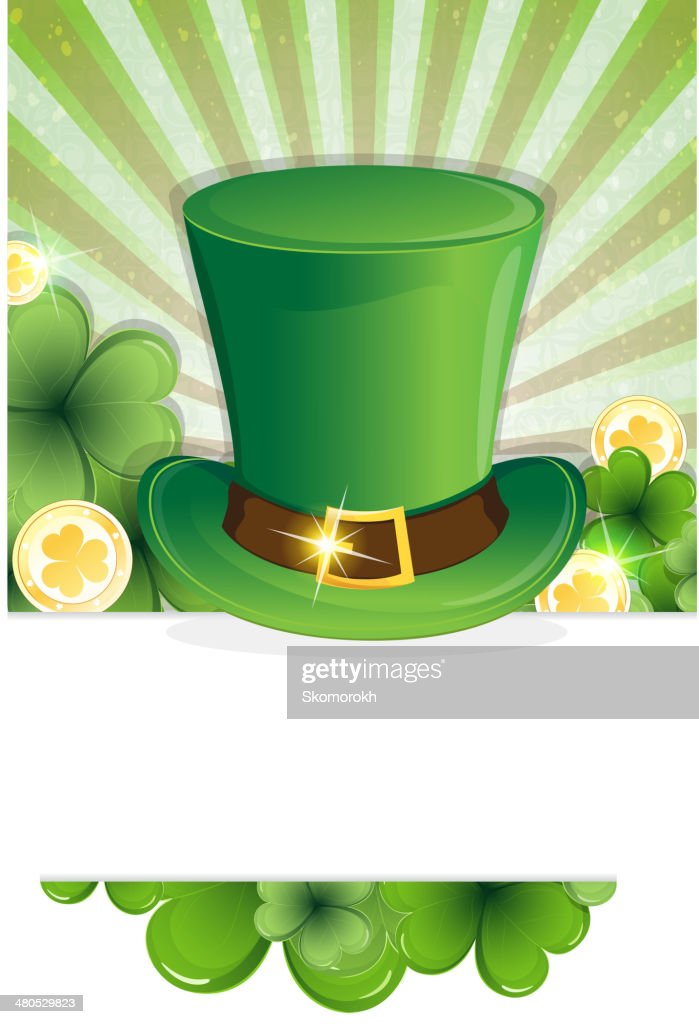 Leprechaun hat and gold coins : Vector Art