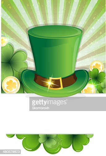 Leprechaun hat and gold coins : Vector Art