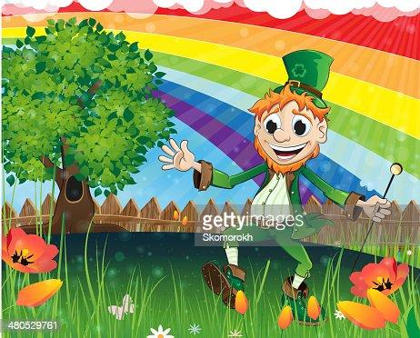 Leprechaun on a spring meadow : Vector Art