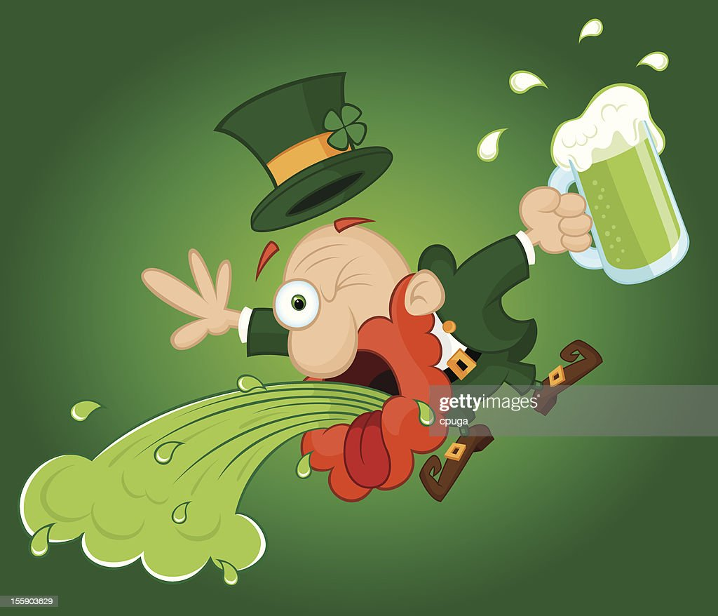leprechaun throwing up on st patricks day vector art getty images