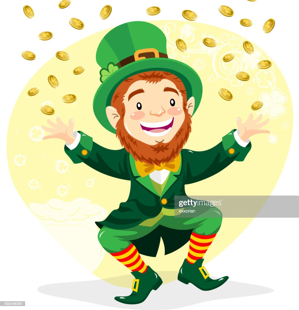 leprechaun with gold coins vector art getty images