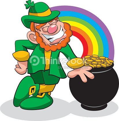 leprechaun with pot of gold at the end of the rainbow vector art    leprechaun with pot of gold at the end of the rainbow   vector art