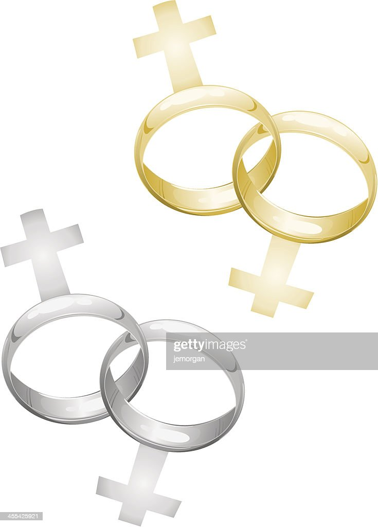 Lesbian Gay Marriage Wedding Rings With Female Symbols Vector Art