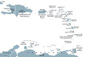 Lesser Antilles political map. Caribbees with Haiti, Dominican Republic and Puerto Rico in the Caribbean Sea. Gray illustration with English labeling on white background. Vector.Illustration. Vector.