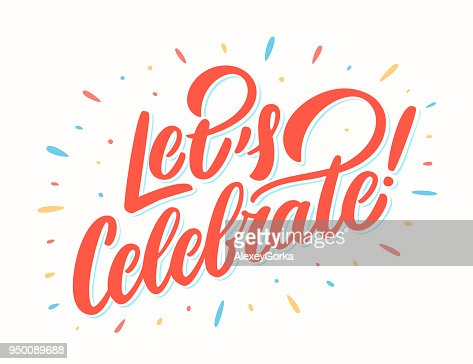 Let's celebrate bannière. Lettrage de vecteur. : clipart vectoriel