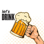 Let's Drink Hand Holding Beer Background Vector Image