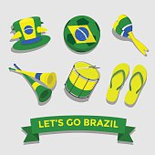 Let's go Brazil icon for cheering fan set vector